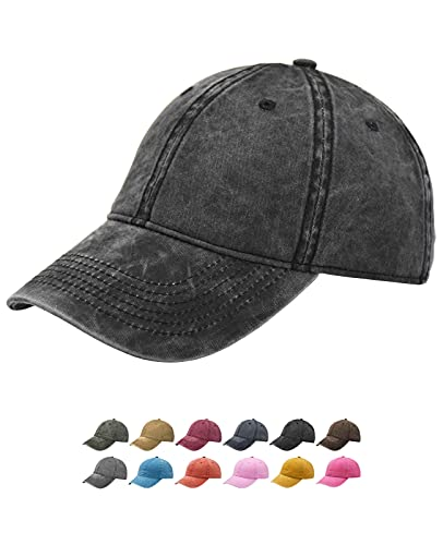 TSSGBL Vintage Cotton Washed Plain Baseball Caps Adjustable Distressed Dad Hats for Men Women Unstructured Low Profile Blank Soft Summer Outdoor Ball Caps for Workout & Sports -Retro Black