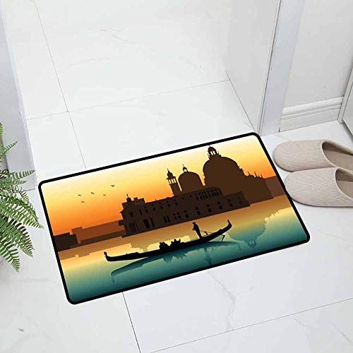 Xlcsomf Romantic Door mat decor People in Gondolas Venice City of Historical Importance Abstract Illustration Easy to clean Multicolor W20 x L30 Inch