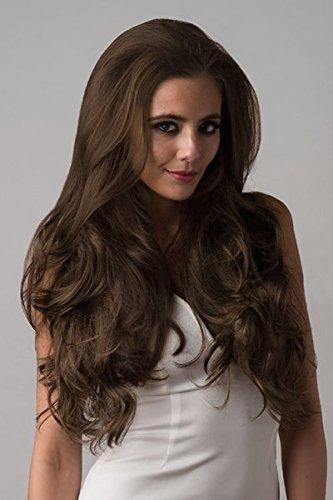 3/4 Half Wig Hair Piece, Light Brown, Wavy: Jenna by Annabelles Wigs