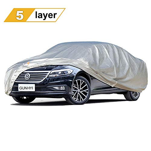 GUNHYI Sedan Car Covers for Automobiles All Weather Waterproof, Outdoor Sun Rain Snow UV Protection, Universal Fit Sedan Coupe Station Wagon Up to 163 Inch