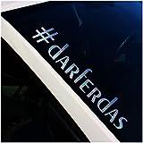 Adhesivo decorativo para parabrisas delantero con texto #Darferdas para luna trasera del coche, adhesivo decorativo FS138 (copos plateados, para exteriores)
