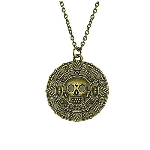 Pinicecore Moneda del Collar del Cráneo del Caribe Películas Fantasycoin Medallón Collar del Collar del Cráneo
