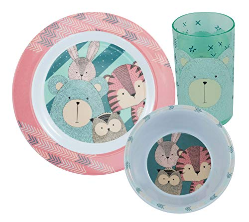 POS 30354004 Breakfast Set with Cute Animal Motif Nordic Crew 3-Piece Tableware Set for Children Consisting of Plate, Bowl and Beaker, Sturdy Melamine, BPA and Phthalate Free