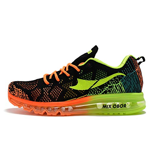 Mixobor Herren Damen Air Laufschuhe Sportschuhe mit Luftpolster Turnschuhe Leichte Schuhe Sportschuhe (44 EU, schwarz grün)