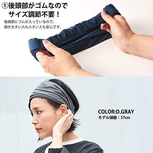 CHARMヘアバンドオーガニックコットン100%[フリーサイズ/ネイビー]バンダナヘアターバン洗顔