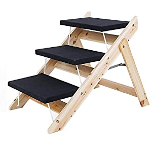Kerrogee 2-in-1 Dog Stairs/Ramp, Foldable Pet Stairs with 3 Levels,Wooden Pet Steps for Small to Large Dogs,Pet Ladder for Car,High Bed and Couch,Easy Storage