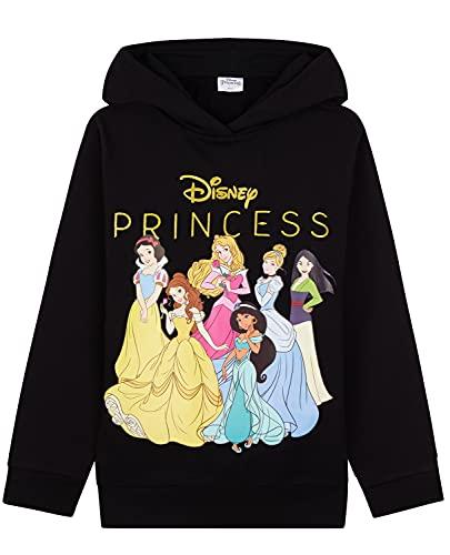 Disney Princesse Pull Enfant Fille, Sweat à Capuche Enfant 2-12 Ans Princesses Belle Jasmine Aurore Cendrillon Blanche Neige Mulan (9-10 Ans, Noir, 9_Years)