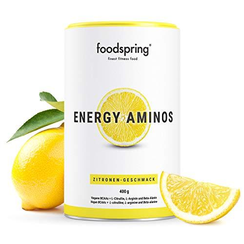 foodspring Pre Workout Amino, Gusto Limone, Carica energetica senza aromi artificiali, Aminoacidi BCAA vegetali, 400g
