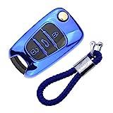 Funda de Silicona para Llave Kia Hyundai – Cover Carcasa de TPU Cromo Suave para Sportage Rio Ceed Picanto Optima iX35 i30 Tucson Protección Llaveros Mando a Distancia (Azul)