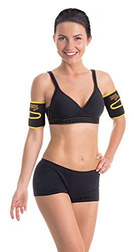 Neoprene Armbandage für schlanke Arme Schwarz-Gelb Medium