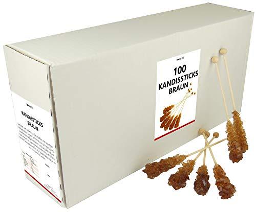 teevendo Kandissticks Kandiszucker Sticks - einzeln verpackt im Karton - braun - 16,5cm (100er-Pack)