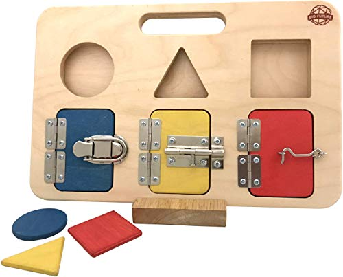 Montessori Busy Board for Toddlers - Shape Sorter - Latch Board - Educational Toy