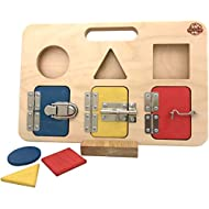 Big Future Toys Busy Board | Simple, Modern Design | Montessori-Friendly Toy for Toddlers, Shape Sorter, Activity Board, Latch Board, Educational Toy, Learning Toy