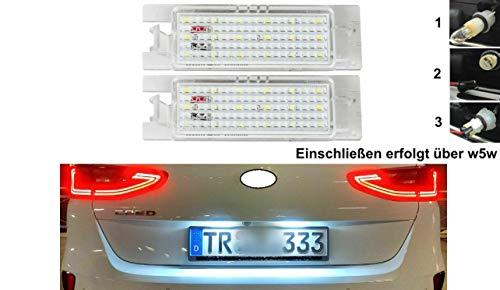2x TOP LED SMD Weiß Kennzeichenbeleuchtung Mit E-Prüfzeichen Zulassungsfrei (OPLLP-VXL)