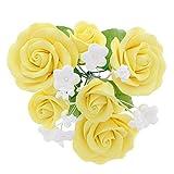 Global Sugar Art Garden Rose Sugar Cake Flowers Topper Bouquet, Yellow, 1 Count by Chef Alan Tetreault