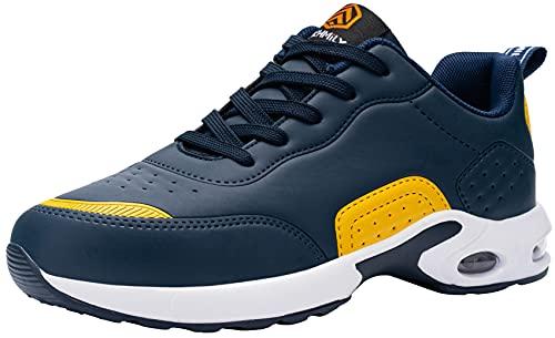 DYKHMILY Zapatillas de Seguridad Hombres, Colchón de Aire Zapatillas de Trabajo con Punta de Acero Zapatos de Seguridad Ultra Liviano Transpirable Comodo Construcción Zapatos(Azul Amarillo,46EU)
