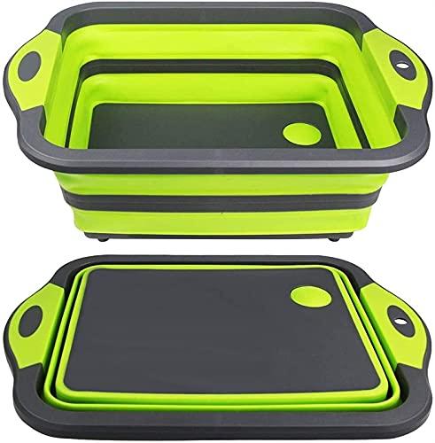 LHY Tabla de cortar plegable de conveniencia – Tabla de cortar multifunción, escurridor de lavabo y cuenco de lavado para la cuba, tapón de drenaje de cocina duradero (color verde)