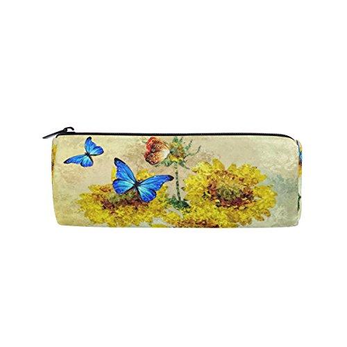 Isaoa Trousse à crayons à motifs de tournesol et de papillons bleus, idéale pour les étudiants, le bureau ou comme trousse de maquillage