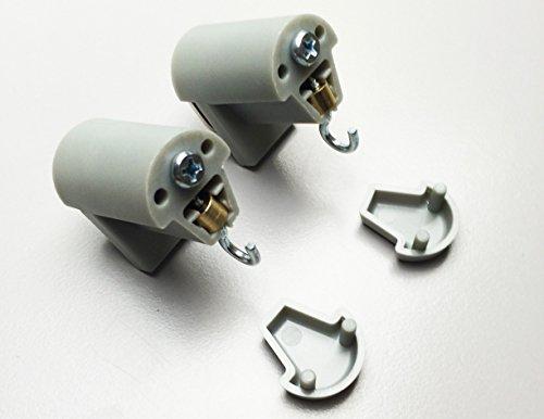 KLEMMFLEX Klemmträger HFX mit Haken für Bambusrollo, -rollup mit Dreieck-Ösen zur Montage direkt auf den Fensterflügel ihres PVC-/Kunststofffensters ~ Farbe: grau ~ OHNE BOHREN ~ 1 Paar = 2 Stück