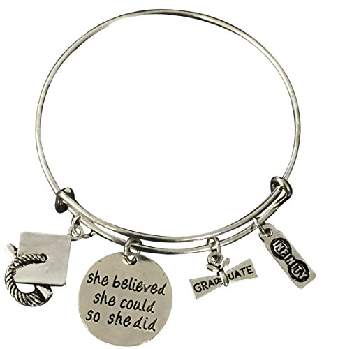 Infinity Collection Graduation Charm Bangle Bracelet - She Believed She Could Graduation Gift, for Female Graduates