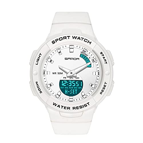 Relojes electrónicos de mujer, reloj de moda de estilo grande de estilo coreano para estudiantes de secundaria y preparatoria, relojes de cuarzo con cinturones impermeables y relojes de niñas,4