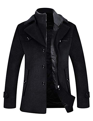 ELETOP Men's Coat Wool Jacket Single Breasted Winter Pea Coat Detachable Collar Windbreaker