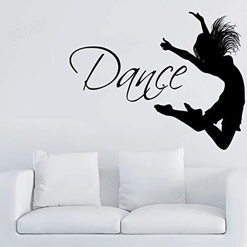 Pegatinas de pared con frases de baile, decoración del hogar, sala de estar, bailarines de gimnasia, silueta, calcomanías de vinilo para pared, decoración de dormitorio para niñas