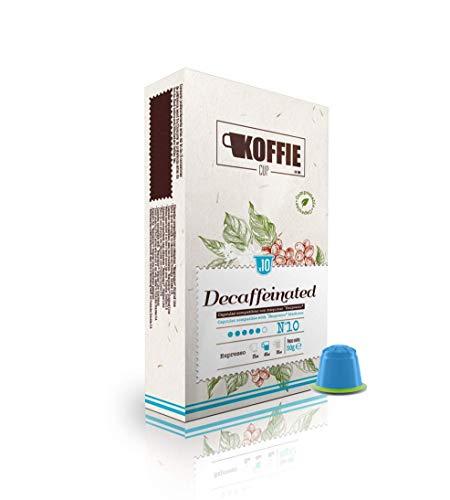 KoffieCup Decaffeinated 40 Cápsulas compostables de café compatibles con máquinas Nespresso® original line. Receta Decaffeinated. Total 40 cápsulas (4x10cáps) koffie cup