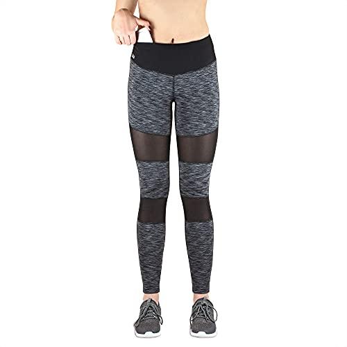 Formbelt - Mallas de Running para Mujer con Bolsillo Largo - Leggins elásticos para Smartphone, iPhone, móvil, Llaves, Yoga, Color Mesh-Schwarz-Grau, tamaño Medium