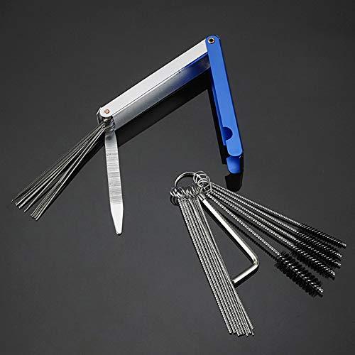 Kit de cepillos de limpieza para carburador Asdomo, kit de limpieza de carburador, cepillo de aguja para motocicleta, ATV y coche