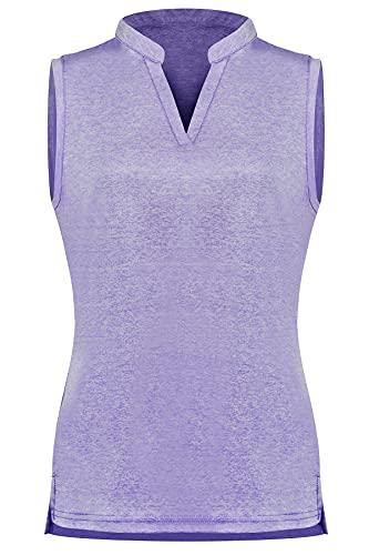 WOWENY Camiseta deportiva para mujer con cuello en V, para tenis, golf, sin mangas, transpirable, para correr, fitness, deporte, morado, XL