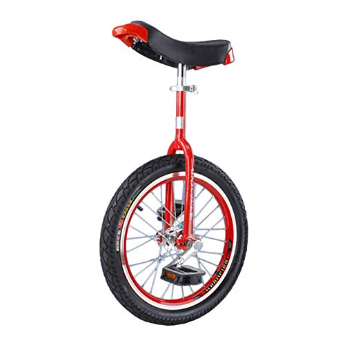 Beginners/Professionals Unicycle 16'/18'/20'/24' Wheel, Children Adults (Boys/Girls) Cycling, Outdoor Sports Fitness (Color : RED, Size : 16IN WHEEL)