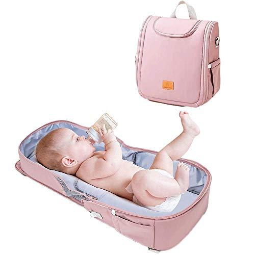 AMBH Mochila 3 en 1 con cambiador de pañales, cama plegable portátil, cuna de viaje para recién nacido, material de registro para niñas y niños (color: rosa)