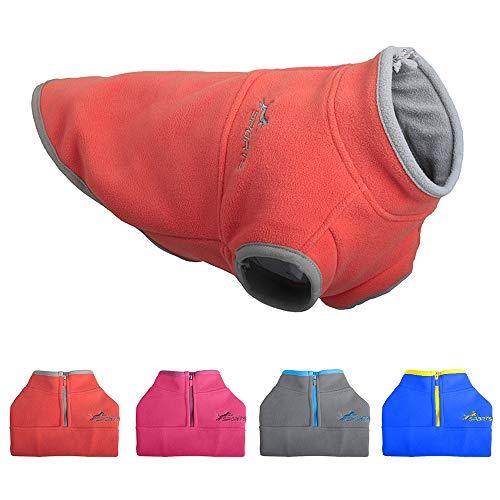 Leepets Fleece-Hundeweste für kleine Hunde, halber Reißverschluss, Pullover für Welpen, Winter, warmer Mantel für Hunde, M:chest~15