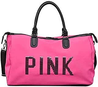 Rag & Sak® Gym Bag For Women,Pink Letters Pattern Waterproof Oxford Fabric Crossbody Bag, Large Capacity Sports Duffel Bag...