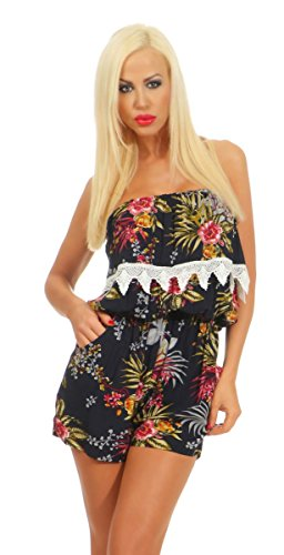 Fashion4Young 3829 Dames Bandeau Overall Shorts Jumpsuit Bloemenpatroon Gebloemd eendelig