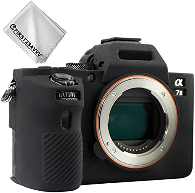 First2savvv negro cuerpo completo caucho de TPU funda estuche Silicona para cámara para Sony ILCE Alpha a7 II . a7R II . a7S II .A7M2 + paño de limpieza XJPT-A7II-GJ-01G11