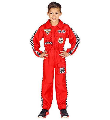 Widmann Rennfahrer Kostüm Overall Jumpsuit rot Anzug exklusiv, Rot (Kinder Overall), 164 (XXS)