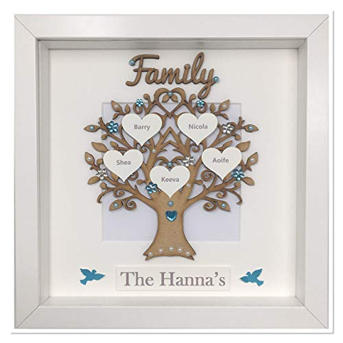 Personalised Family Tree 3D Box Picture Frame Turquoise Gem Birds (Other Colours To Choose) Up To 14 Names