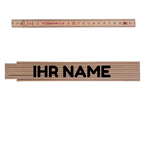 Zollstock naturfarben mit Ihrem Namen personalisiert: Jeder Name ist möglich! Personalisierbar