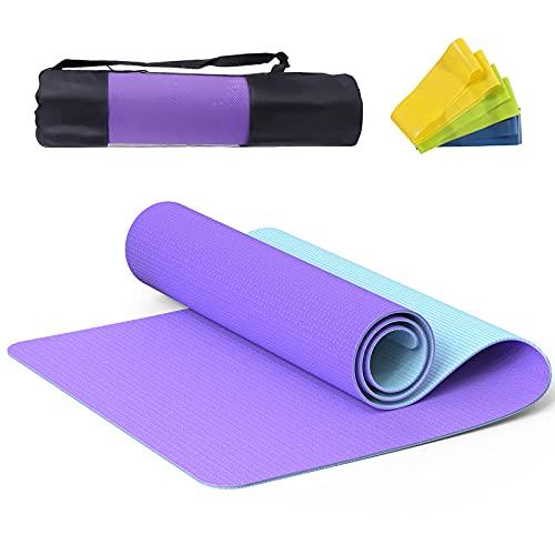 NAFFIC Esterilla Yoga,Alfombrilla de Yoga Texturizada Antideslizante 3*Banda de Resistencia,1* Correa de Transporte para Ejercicios para Yoga,Pilates y Ejercicios de Piso 183x61x0.6 cm (Azul-Morado)