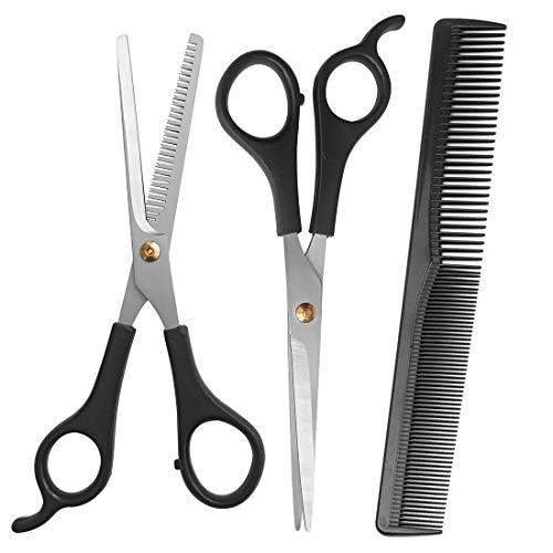 Wonfirst - Tijeras de peluquería para peluquería, 3 piezas, color negro