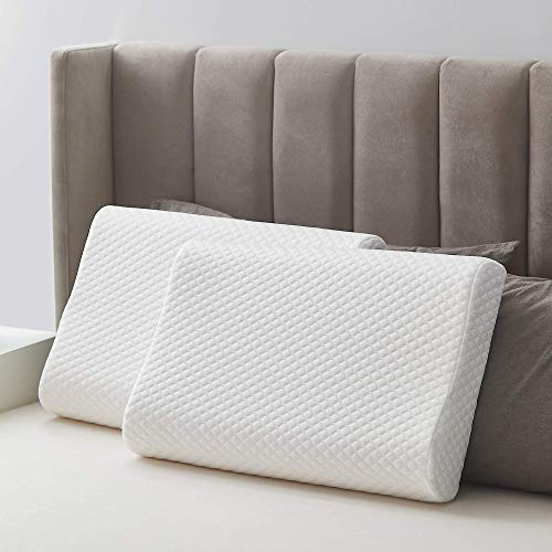 Acanva Bed Natural Latex Pillow for Sleeping 2 Pack, with Luxury Washable Pillowcase for Neck Pain Relief, Support for Back, Side and Stomach...