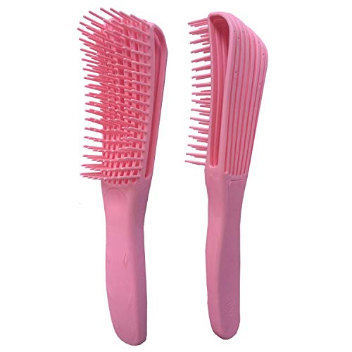 Natuurlijk Haar Kam Detangling Borstel Voor Afrikaanse 3D Naar 4C Zwaaien Krul Droog/Nat Conditioner Gemakkelijk Verwijderen Klitten Verbeteren Haar Textuur En Makkelijk Schoon,Pink