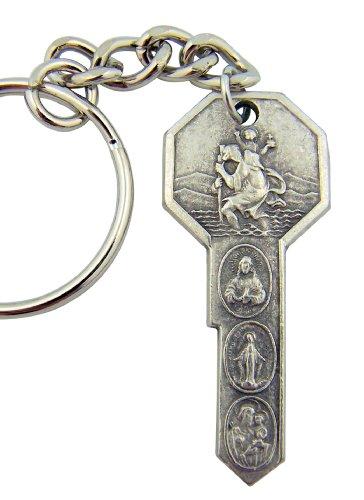 Religious Catholic Gift Saint St Christopher Air Land Sea Travel Protection Key Shape Medal Keyring