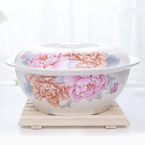 Liuyu kuchnia dom Bone China towar stołowy Big zupa garnek zupa miska z pokrywką miska na zupę (rozmiar: 1,6 l)