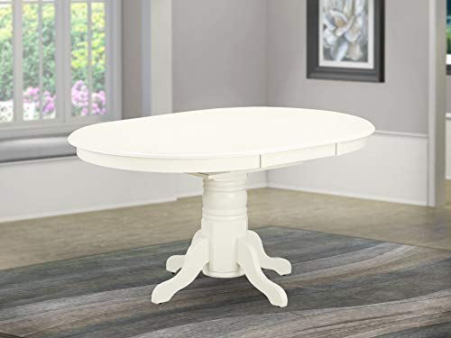 East West Furniture T AVT-LWH-TP Butterfly leaf Oval Top Surface and Linen White Finish Pedestal Legs Hardwood Frame Dining Room Table, Medium