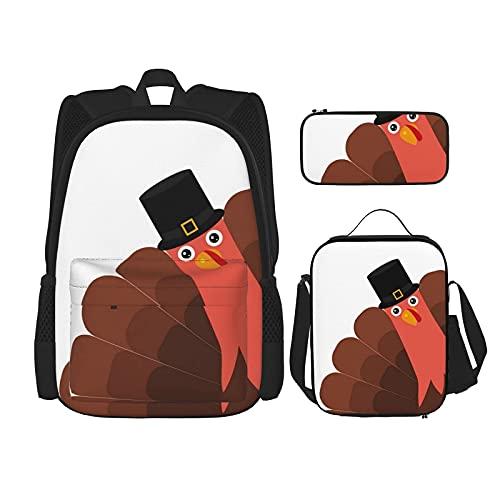 Regresar a la escuela Suministros sombrero de peregrino, estudiantes de Turquía 3 en 1, mochila de la escuela, mochila ligera, bolsa de almuerzo, estuche para niñas