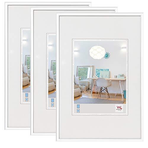walther design Kunststoffrahmen, Kunststoff, Weiß, 21 x 30 cm (DIN A 4), 3er Pack