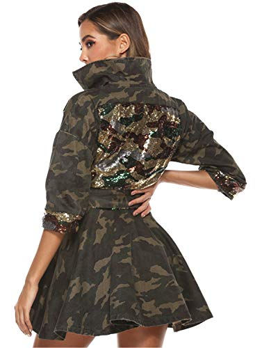 HOMELEX Women's Classic Casual Long Sleeve Camo Lightweight Zipper Outerwear Short Jacket (XXXXL)